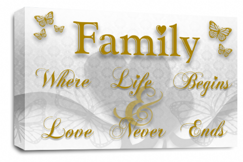 Family Quote Wall Art Picture White Gold Grey Love Print